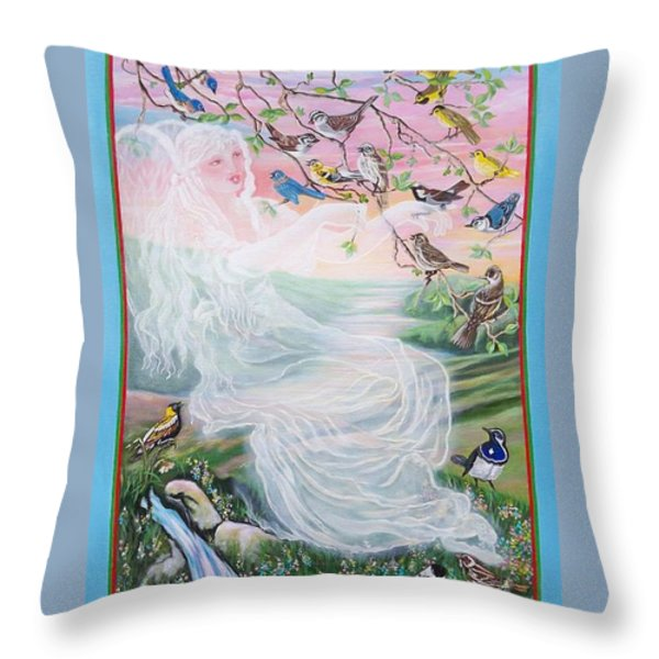 380  Whistling Angel And Birds Throw Pillow by Sigrid Tune