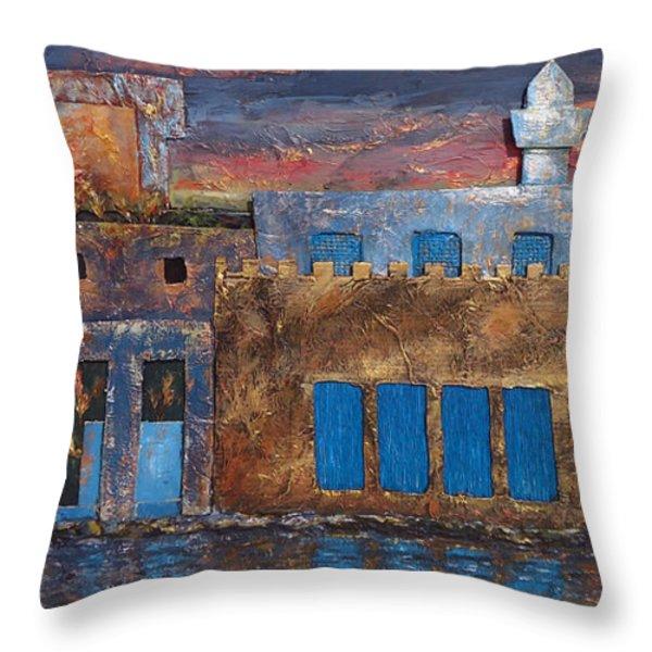 3d Village Throw Pillow by Amani Al Hajeri
