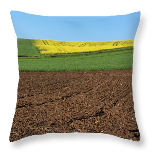 Agricultural Landscape. Auvergne. France. Throw Pillow by Bernard Jaubert