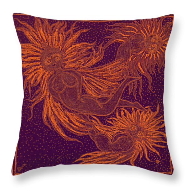Angels At Play Throw Pillow by Lyn Dufty