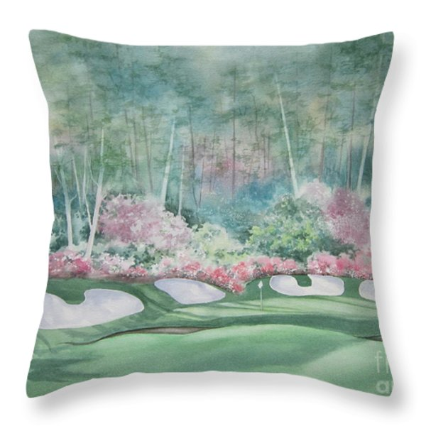 Augusta National 13th Hole Throw Pillow by Deborah Ronglien