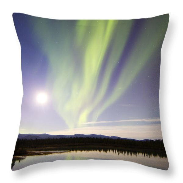 Aurora Borealis And Full Moon Throw Pillow by Joseph Bradley