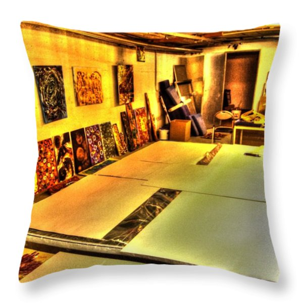 back in the studio Throw Pillow by Sir Josef  Putsche Social Critic