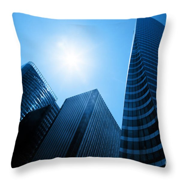 Business skyscrapers Throw Pillow by Michal Bednarek