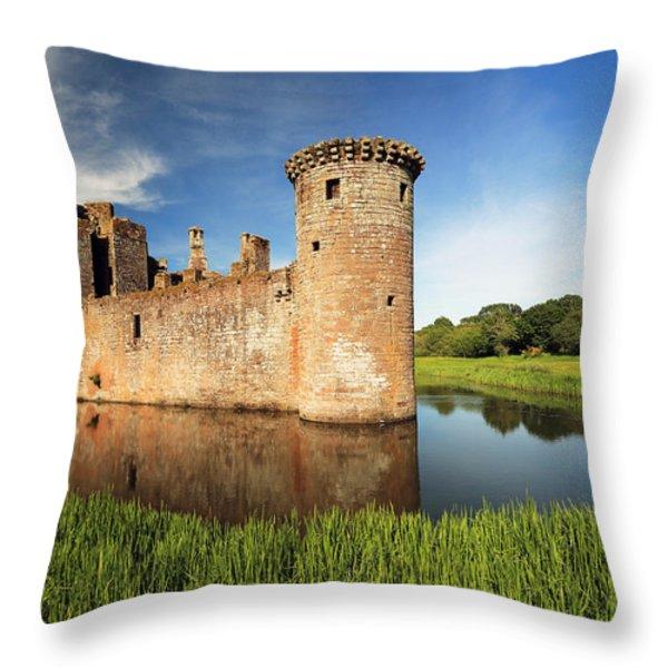Caerlaverock Castle Throw Pillow by Grant Glendinning