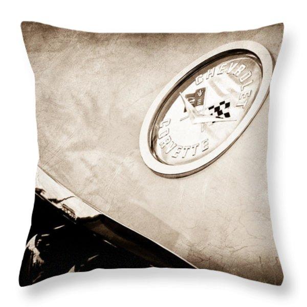 Chevrolet Corvette Hood Emblem Throw Pillow by Jill Reger