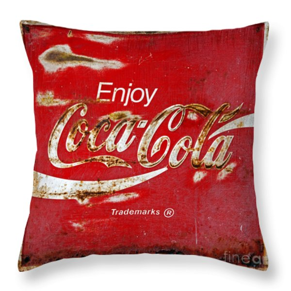 Coca Cola Vintage Rusty Sign Black Border Throw Pillow by John Stephens