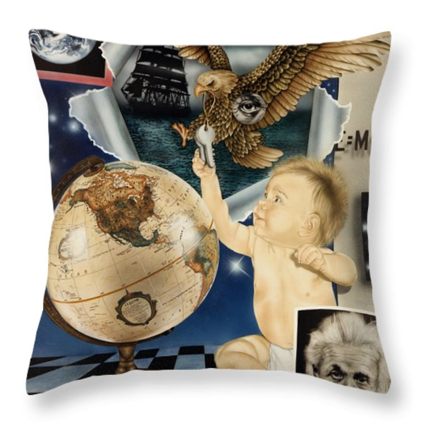 Discovery Of The New World Throw Pillow by Rich Milo