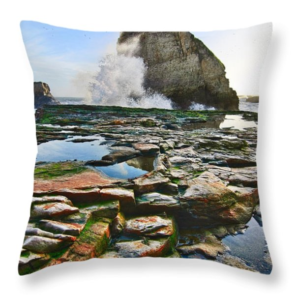 Dramatic View Of Shark Fin Cove In Santa Cruz California. Throw Pillow by Jamie Pham