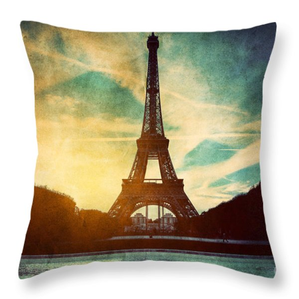 Eiffel Tower In Paris Fance In Retro Style Throw Pillow by Michal Bednarek
