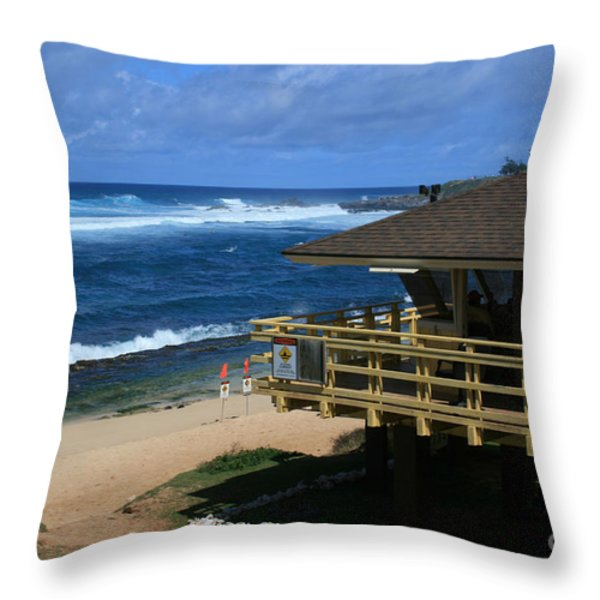 Hookipa Beach Maui North Shore Hawaii Throw Pillow by Sharon Mau
