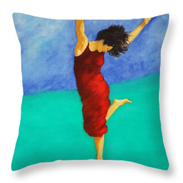 Jump Of Joy Throw Pillow by Dagmar Helbig