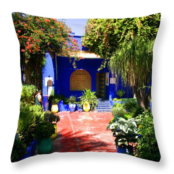 Majorelle Garden Marrakesh Morocco Throw Pillow by Ralph A  Ledergerber-Photography
