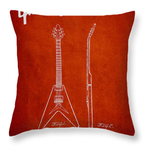 Mccarty Gibson Electric guitar patent Drawing from 1958 - Red Throw Pillow by Aged Pixel