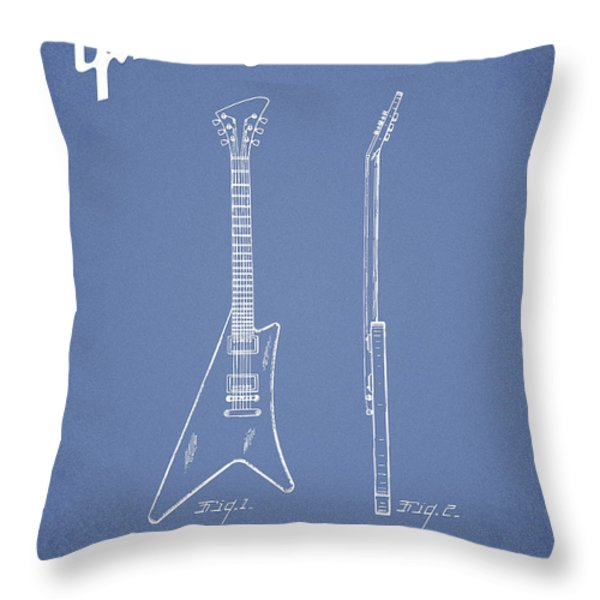 McCarty Gibson stringed instrument patent Drawing from 1958 - Light Blue Throw Pillow by Aged Pixel