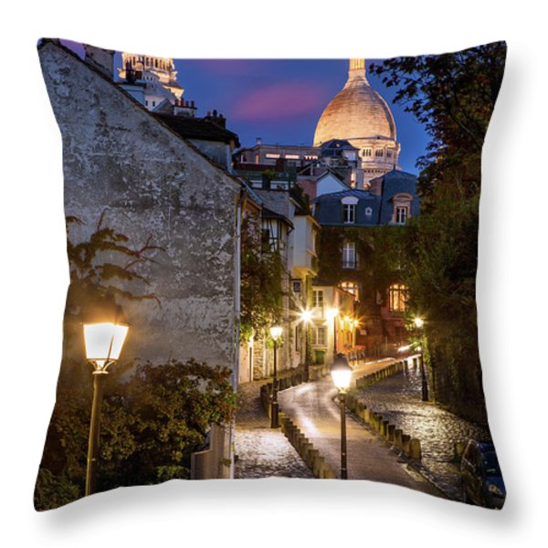 Montmartre Twilight Throw Pillow by Brian Jannsen