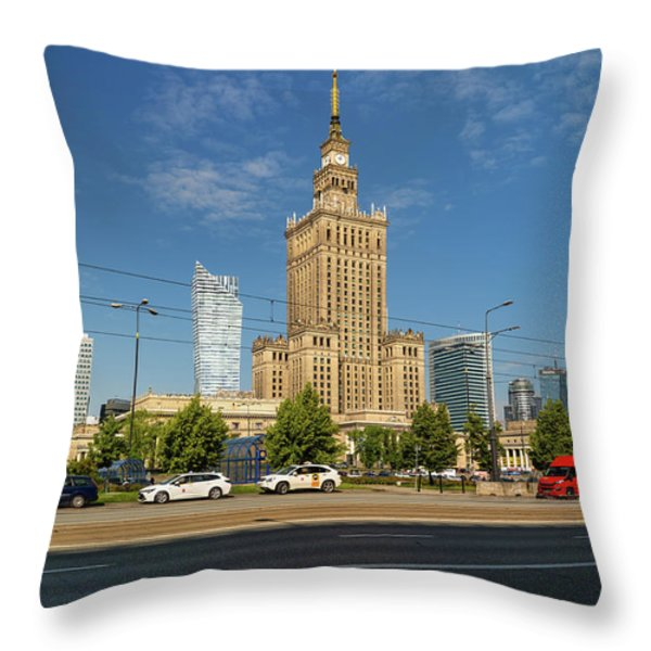 Palace Of Culture And Science In Warsaw Throw Pillow by Artur Bogacki