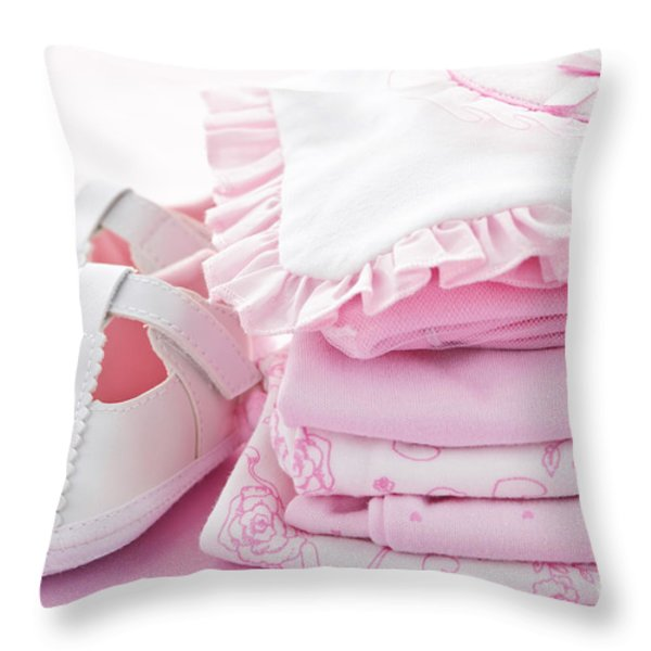 Pink baby clothes for infant girl Throw Pillow by Elena Elisseeva