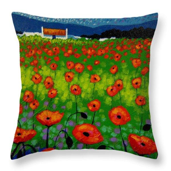 Poppy Field Throw Pillow by John  Nolan