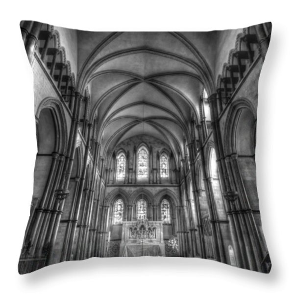 Rochester Cathedral Interior Hdr. Throw Pillow by David French