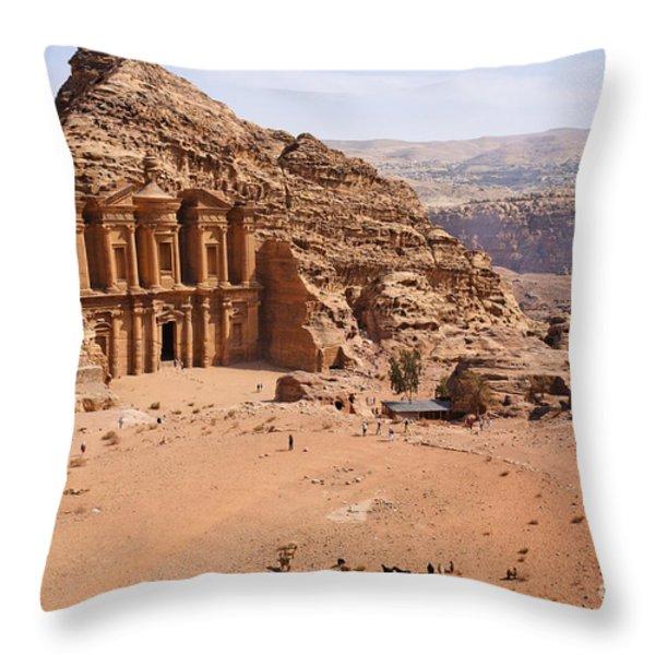 The Monastery At Petra In Jordan Throw Pillow by Robert Preston