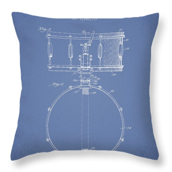 Snare Drum Patent Drawing from 1939 - Light Blue Throw Pillow by Aged Pixel