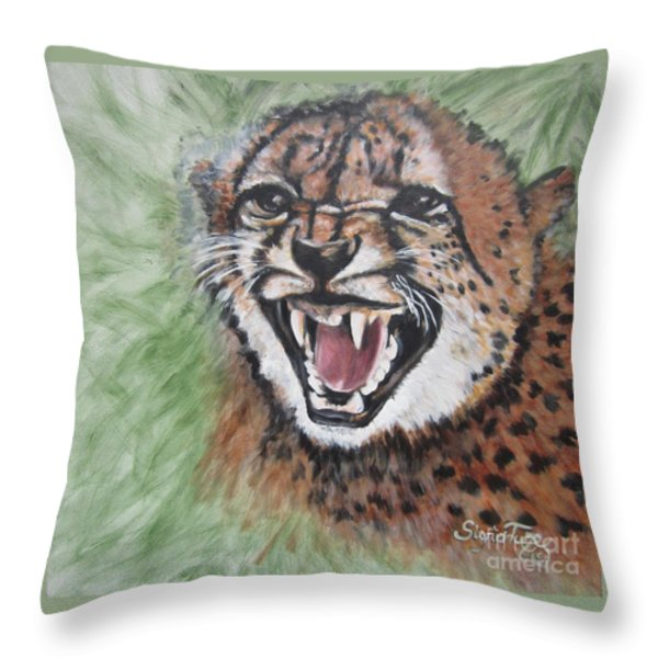 420 Growling Baby Cheetah Throw Pillow by Sigrid Tune
