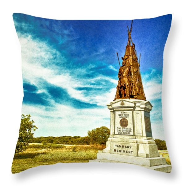 42nd New York Infantry Memorial Gettysburg Battleground Throw Pillow by Bob and Nadine Johnston