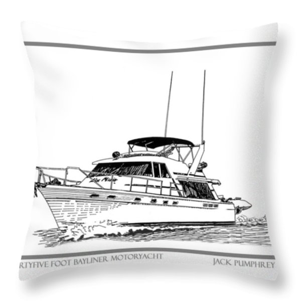 45 foot Bayliner Motoryacht Throw Pillow by Jack Pumphrey