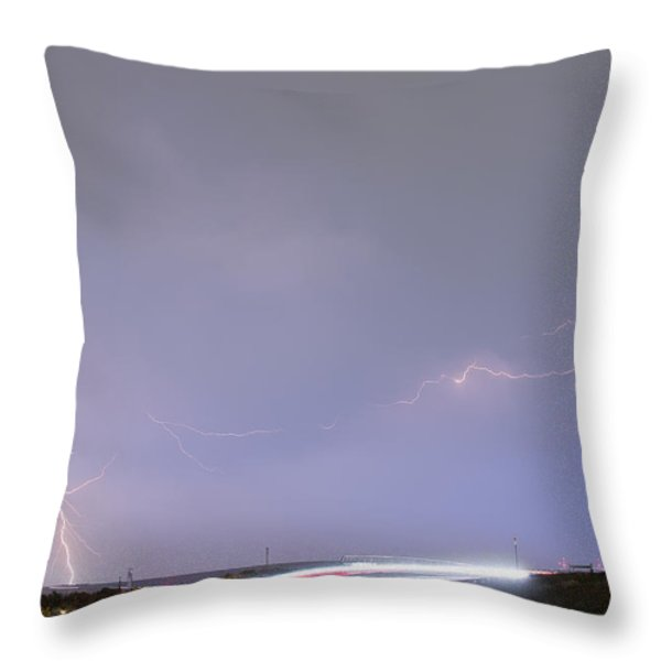 47 Street Lightning Storm Light Trails View Throw Pillow by James BO  Insogna