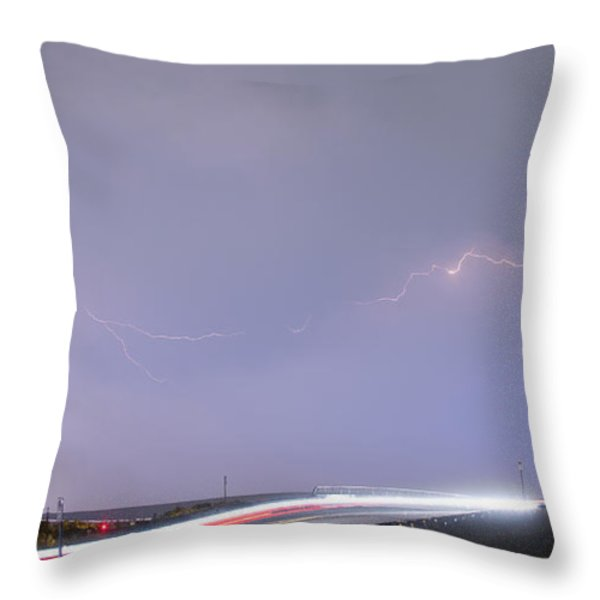 47 Street Lightning Storm Light Trails View Panorama 1 Throw Pillow by James BO  Insogna