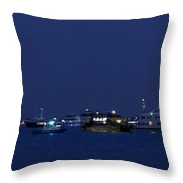 4th of July Flotilla on The Hudson Throw Pillow by Lilliana Mendez