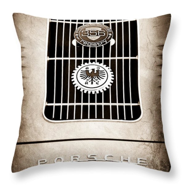 1960 Volkswagen VW Porsche 356 Carrera GS GT Replica Emblem Throw Pillow by Jill Reger