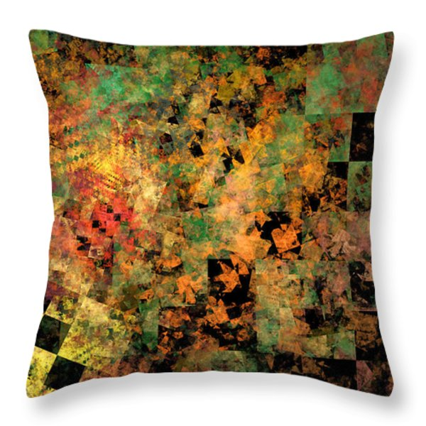Abstract Checkered Pattern Fractal Flame Throw Pillow by Keith Webber Jr