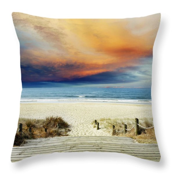 Beach View Throw Pillow by Les Cunliffe
