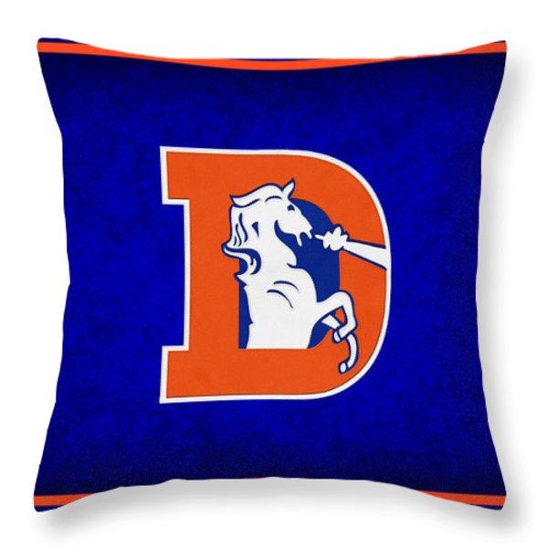 DENVER BRONCOS Throw Pillow by Joe Hamilton