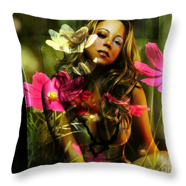 Mariah Carey Throw Pillow by Marvin Blaine