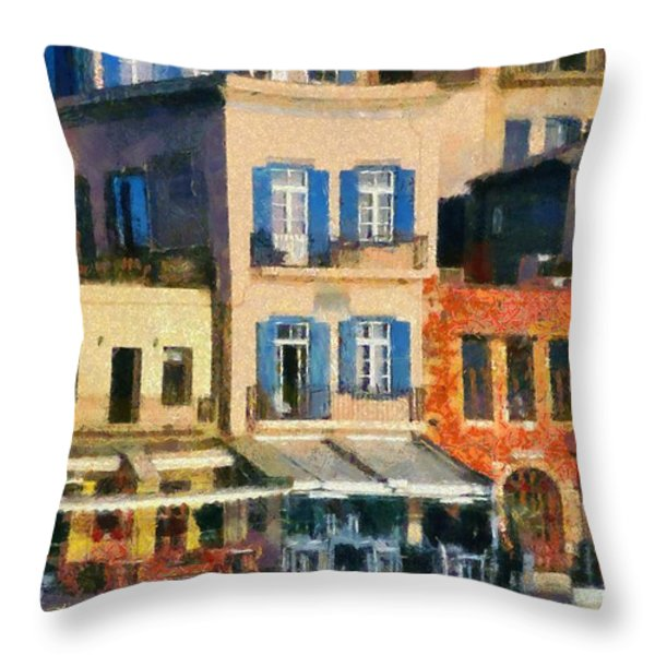Painting Of The Old Port Of Chania Throw Pillow by George Atsametakis