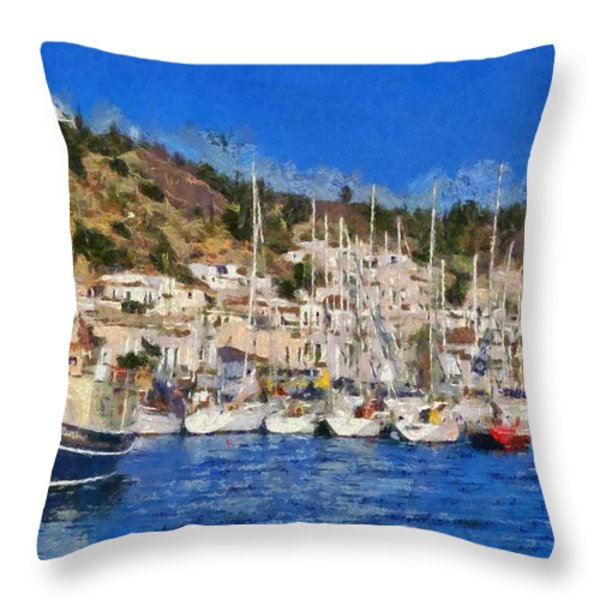 Poros Island Throw Pillow by George Atsametakis