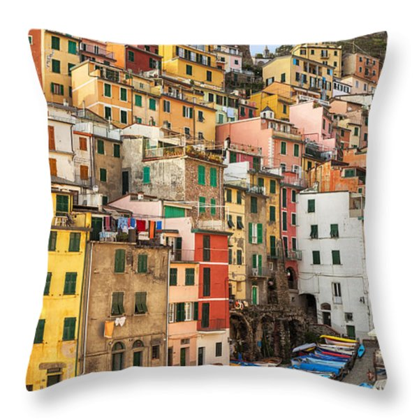 Riomaggiore Throw Pillow by Joana Kruse