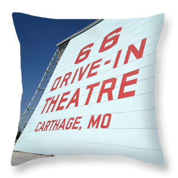 Route 66 Drive-In Theatre Throw Pillow by Frank Romeo