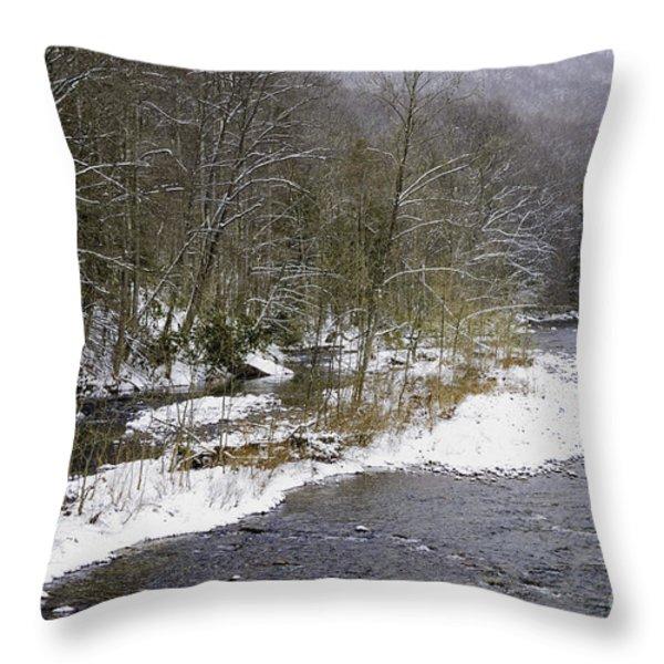 Spring Snow Williams River  Throw Pillow by Thomas R Fletcher