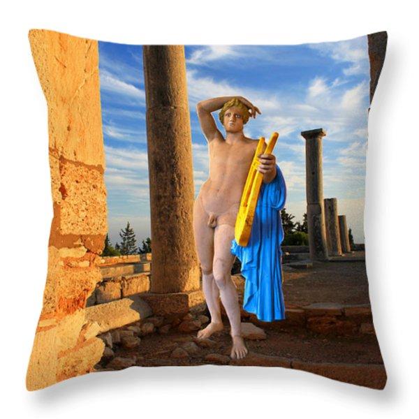 Temple Of Apollo Throw Pillow by Augusta Stylianou