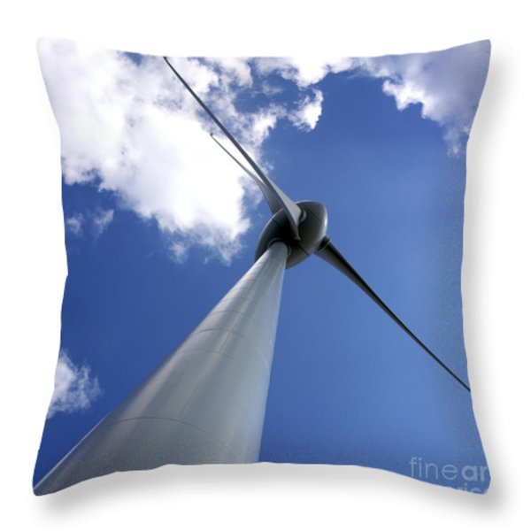 Wind Turbine Throw Pillow by Bernard Jaubert