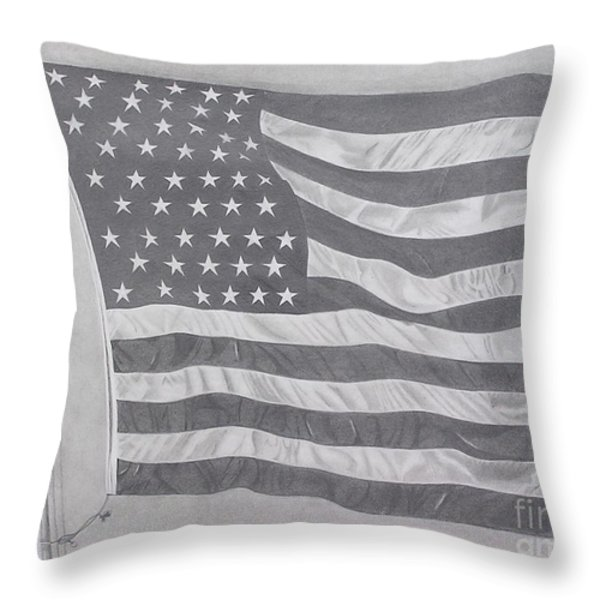 50 Stars 13 Stripes Throw Pillow by Wil Golden