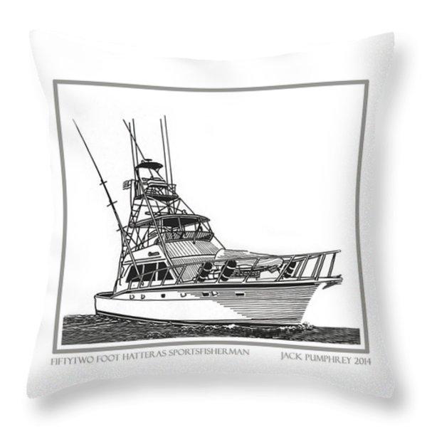 52 foot Hatteras Sportsfisherman Throw Pillow by Jack Pumphrey