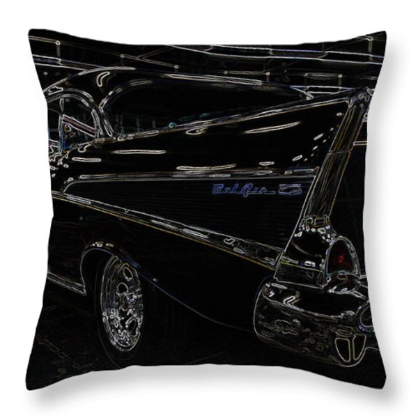 57 Chevy Neon Glow Throw Pillow by Steve McKinzie