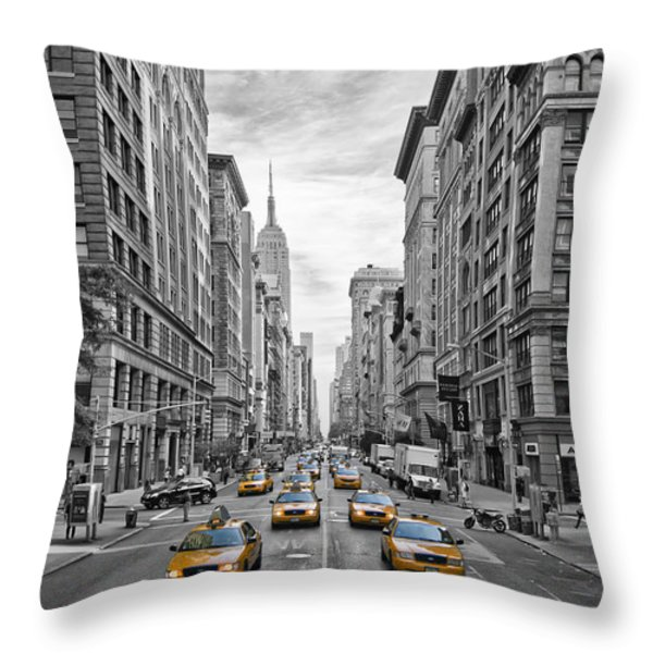 5th Avenue Yellow Cabs - NYC Throw Pillow by Melanie Viola