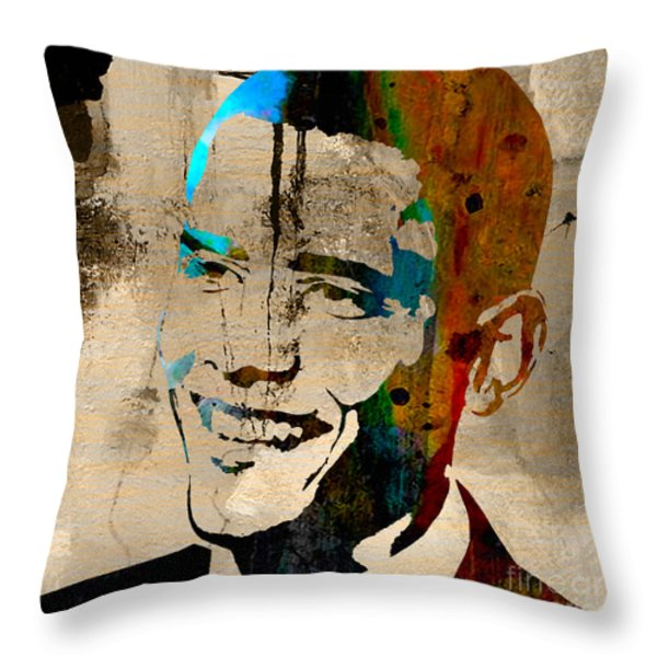 Barack Obama Throw Pillow by Marvin Blaine