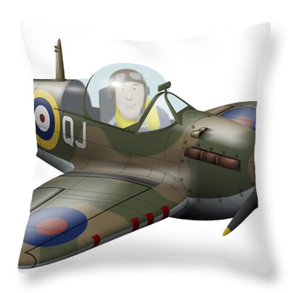 Cartoon Illustration Of A Royal Air Throw Pillow by Inkworm